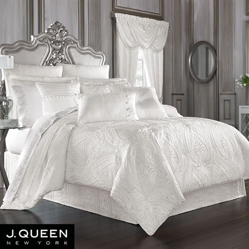 Bianco Puff Jacquard Solid White Comforter Bedding by J Queen