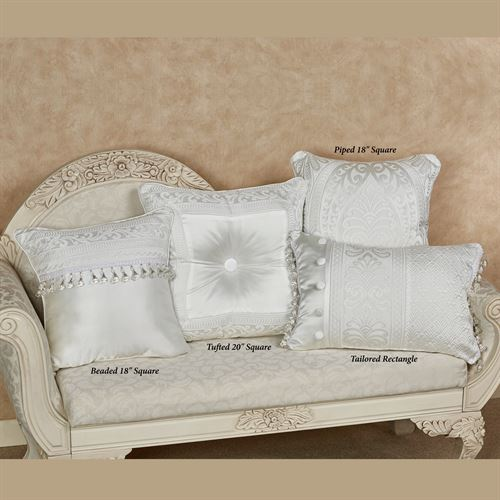 Bianco Beaded Pillow White 18 Square