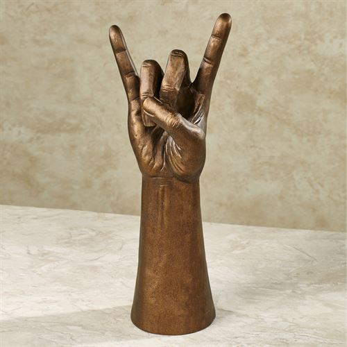 Rock on Hand Gesture Table Sculpture Aged Bronze