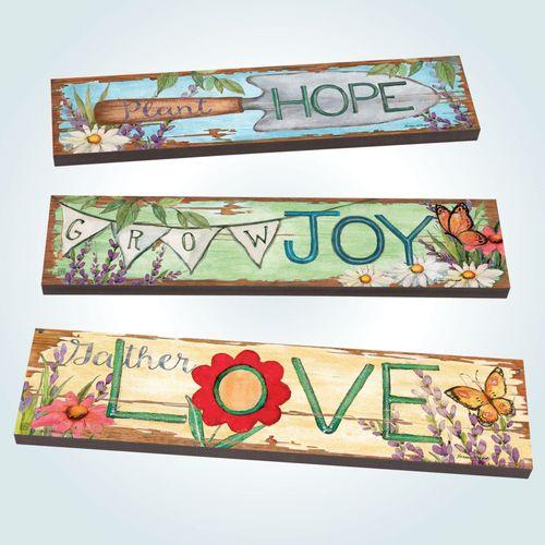 Plant Grow Gather Garden Art Planks Multi Bright Set of Three