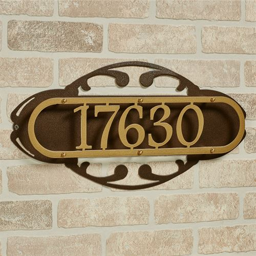 Paris House Number Address Wall Sign Gold/Bronze