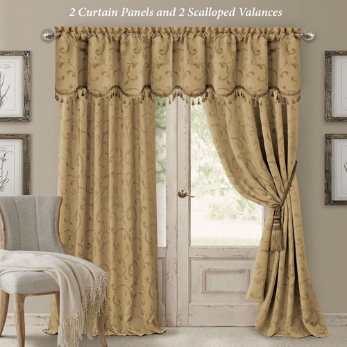 Mina Tailored Curtain Panel Antique Gold