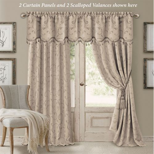 Mina Tailored Curtain Panel Parchment