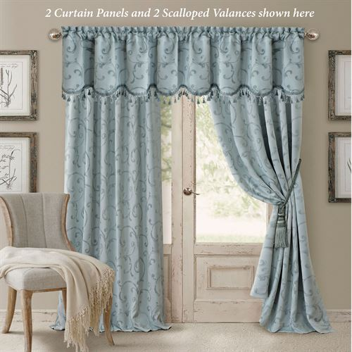 Mina Tailored Curtain Panel Pastel Blue
