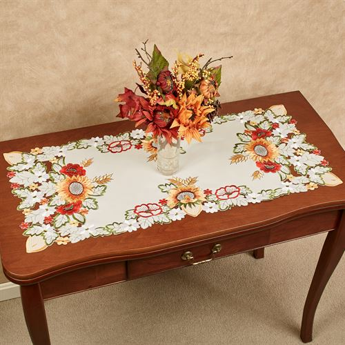Sunflowers And Poppies Table Runner Multi Warm 16 X 36
