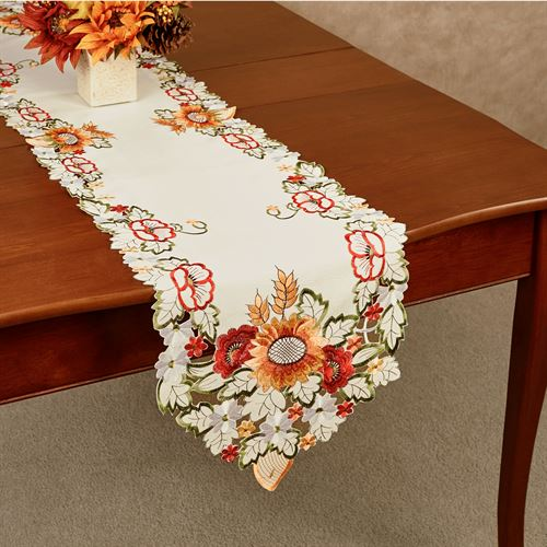 Sunflowers and Poppies Long Table Runner Multi Warm 13 x 65