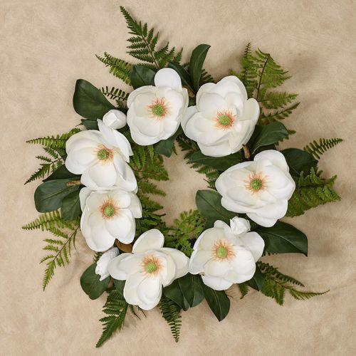 Magnolia Floral Wreath Ivory