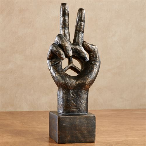 Peace Hand Table Sculpture Black/Gold