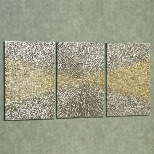 Interception Wall Art Set Silver Gold Set of Three