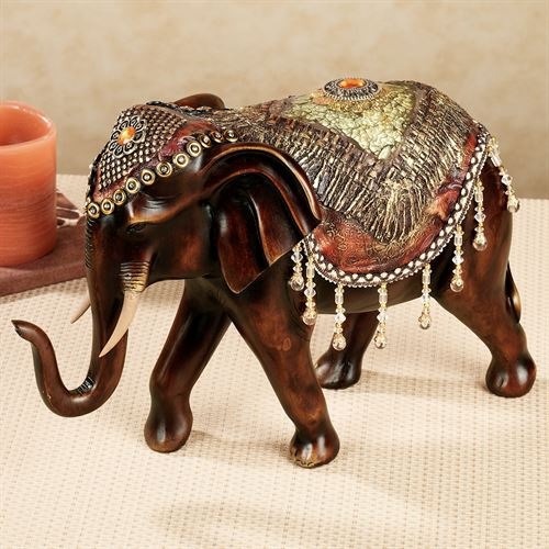 Bejeweled Elephant Table Sculpture Brown