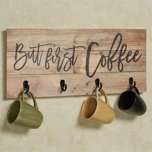 But First Coffee Wall Hook Rack Multi Earth