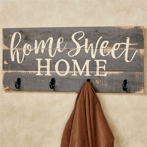 Home Sweet Home Pine Wood Wall Hook Rack