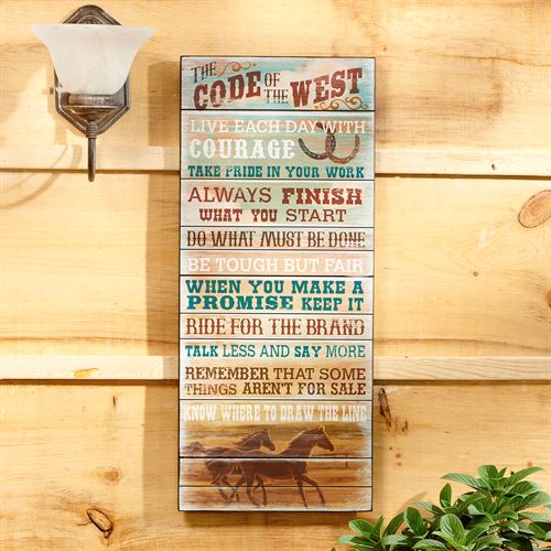 Code of the West Wall Plaque Multi Cool