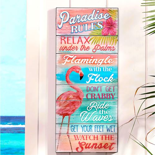 Paradise Rules Indoor Wall Plaque Multi Bright