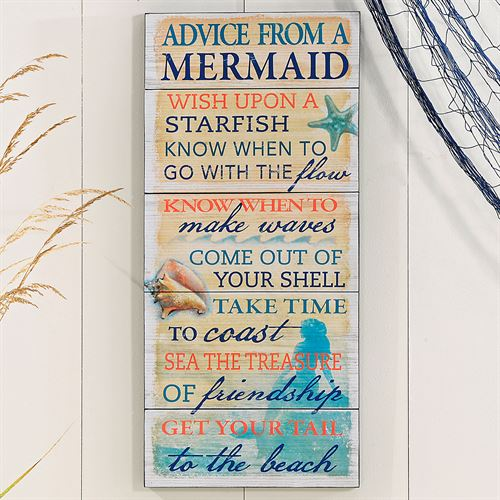 Mermaid Advice Wall Plaque Multi Cool