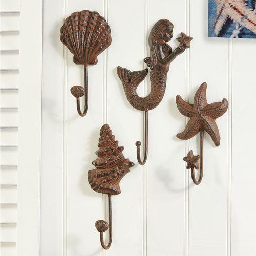 Rustic Ocean Jewel Wall Hooks Rustic Bronze Set of Four
