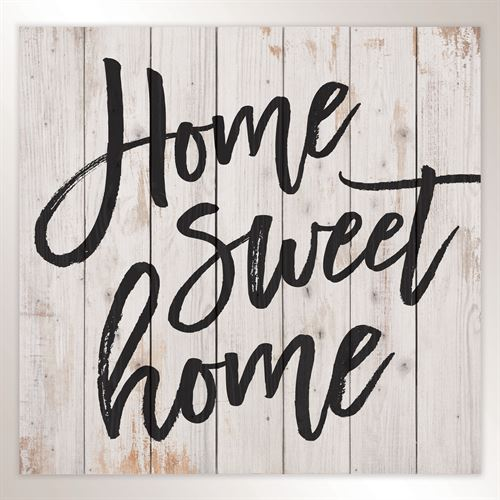 Home Sweet Home Wall Plaque Whitewash