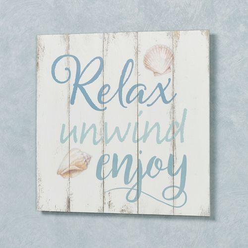 Relax Unwind Enjoy Wall Plaque Whitewash