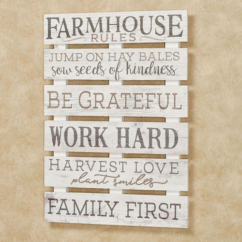 Farmhouse Rules Wall Plaque Whitewash
