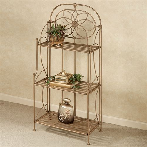 Lexington Wrought Iron Etagere Satin Gold Three Tier