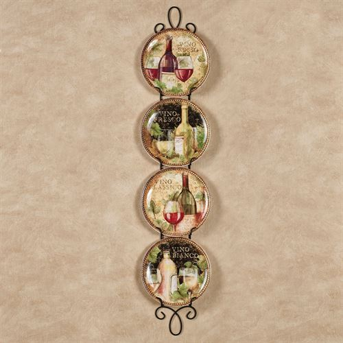 Gilded Wine Dessert Plates Multi Earth Set of Four
