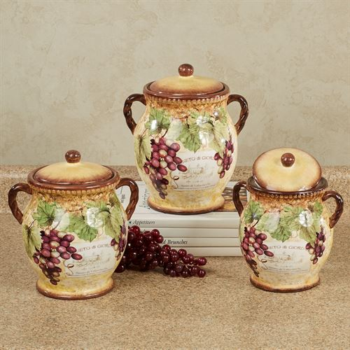 Gilded Wine Grape Themed Kitchen Canister Set
