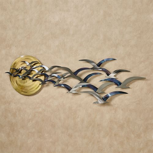Seabirds at Sunset Wall Sculpture Multi Metallic