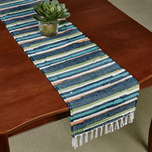 Striped Dhurrie Table Runner Multi Cool 13 x 54