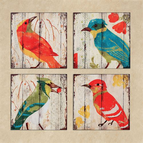 Bird Haven Wall Art Multi Bright Set of Four