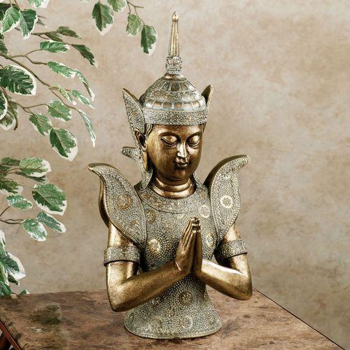 Tranquil Meditation Buddha Table Sculpture Antique Gold