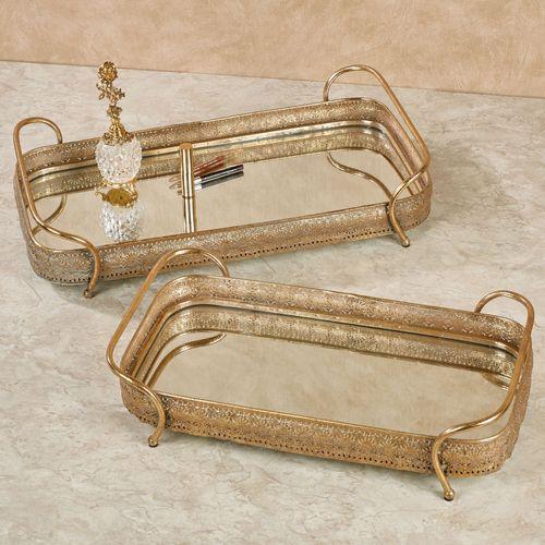 Valoria Mirrored Vanity Trays Antique Gold Set of Two