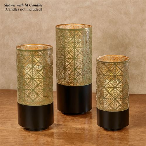 Calloway Pierced Lantern Candleholders Gold/Black Set of Three