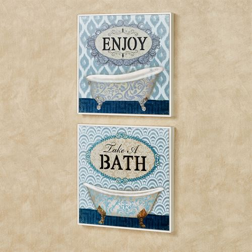 Bath Wall Plaques Blue Set of Two