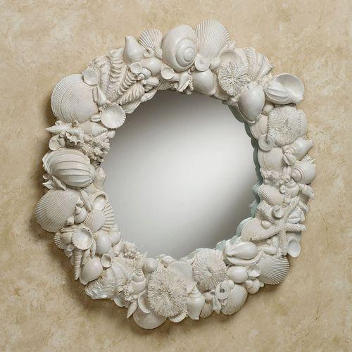 Seashell Melange Wall Mirror Weathered White