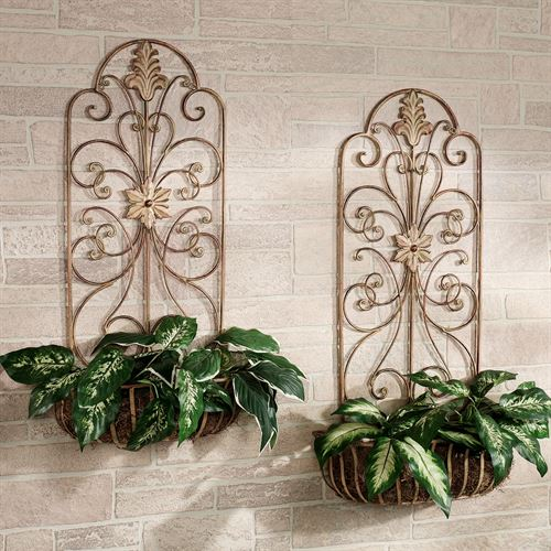 Carrolton indoor outdoor metal wall planter set carrolton metal wall planter set tuscan brick set of two workwithnaturefo