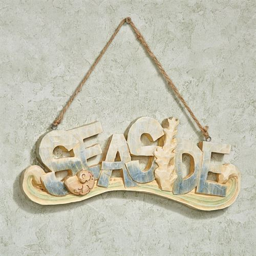 Seaside Hanging Wall Plaque Sign Multi Pastel