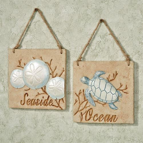Seaside Ocean Hanging Wall Plaque Set Beige Set of Two