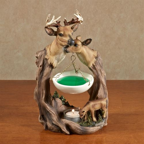 Deer Family Tealight Oil Burner Brown