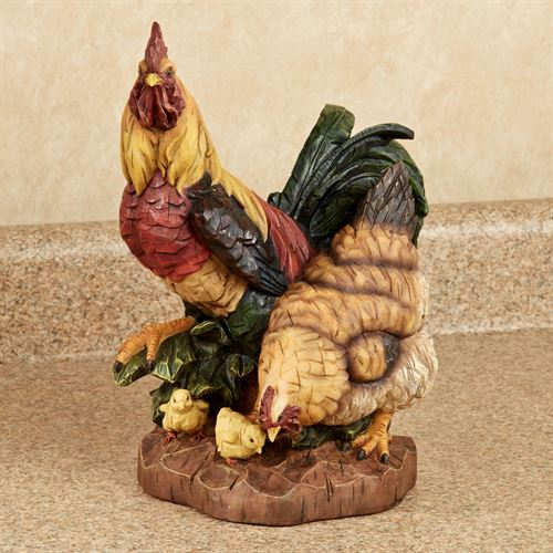 Rooster and Hen Table Accent Multi Jewel