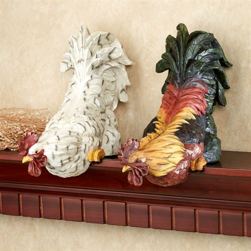 Content Rooster Shelf Sitter Set Multi Earth Set of Two