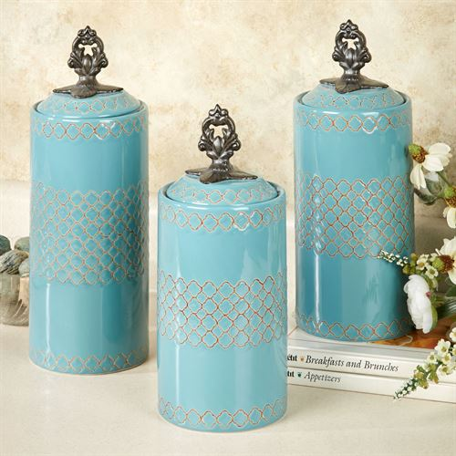 Safiya Kitchen Canister Set Turquoise Set of Three