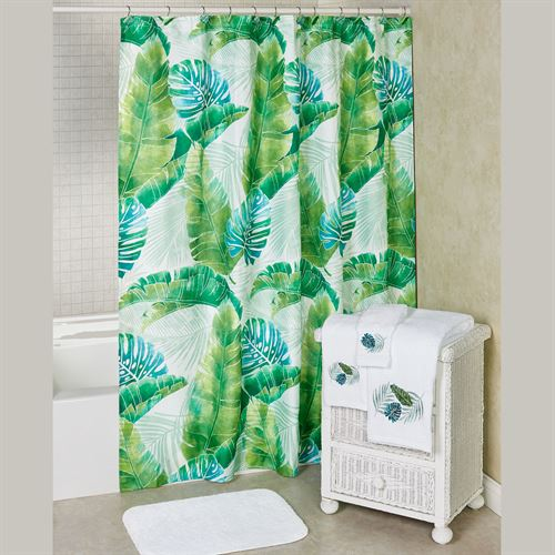 Kauai Tropical Shower Curtain Green 70 X 72
