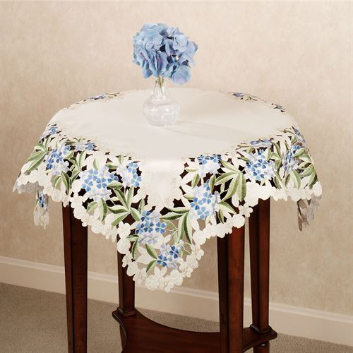 Blue Hydrangea Square Table Topper Cream 36 Square