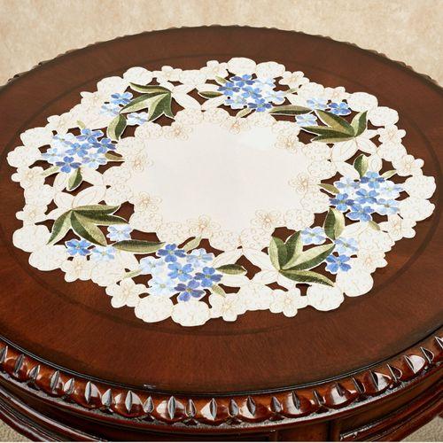 Blue Hydrangea Round Topper Cream 14 Diameter