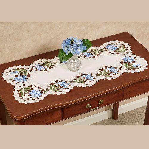 Blue Hydrangea Table Runner Cream 16 x 36