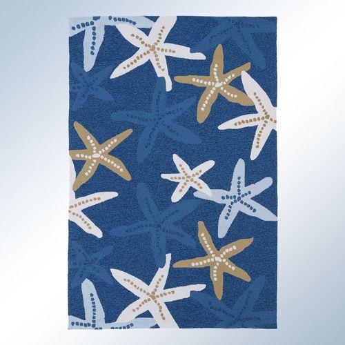 Matira Starfish Rectangle Rug Blue