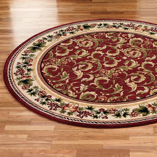 Inspiration Grapes And Acanthus Round Area Rugs
