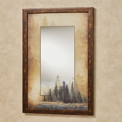 Misty Forest Framed Wall Mirror Multi Warm