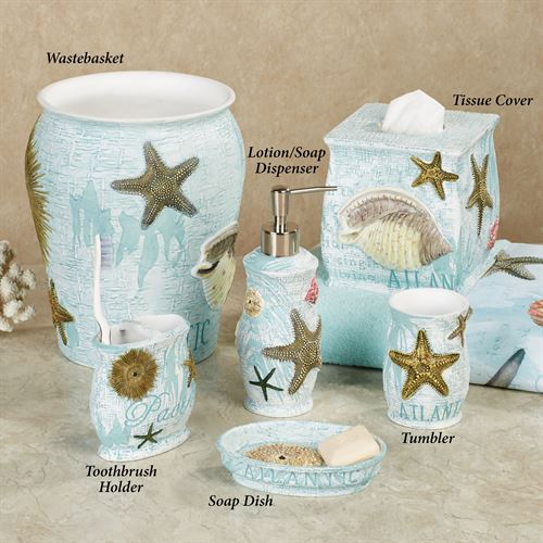 Beautiful Atlantic Coastal Bath Accessories. Atlantic Lotion Soap Dispenser Aqua