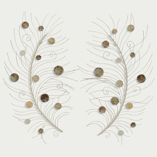 falling feathers metal wall art set